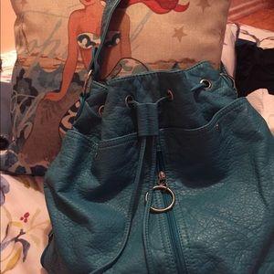 Drawstring deep turquoise bag , fab ,unique style